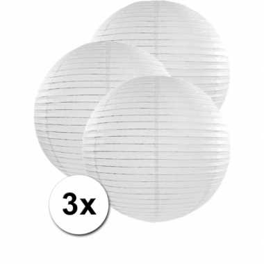 Witte lampionnen 50 cm 3 stuks