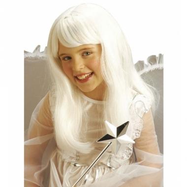 Witte lange meisjes pruik