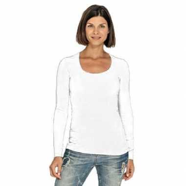 Witte longsleeve shirt met ronde hals voor dames