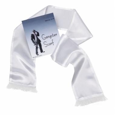 Witte maffia sjaal met kwastjes