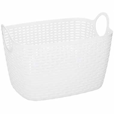 Witte plastic wasmand 29 cm