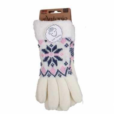 Witte winterhandschoenen nordic voor dames