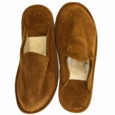 Wollen heren instap pantoffels bruin