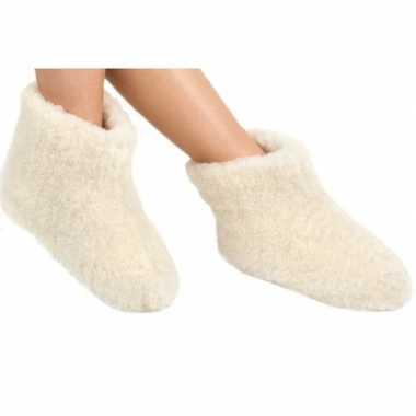 Wollen slofjes/pantoffeltjes wit