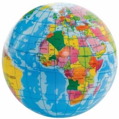 Zachte bal wereldbol 6 cm