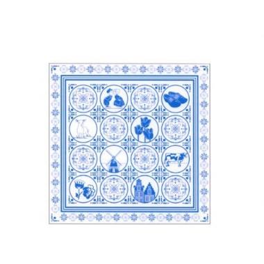 Zakdoek met delfts blauwe look