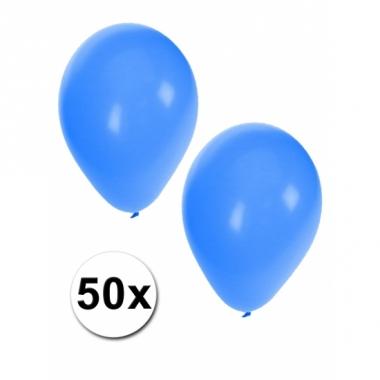 Zakje met 50 blauwe feest ballonnen
