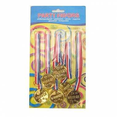 Zakje met 6 goudkleurige medailles
