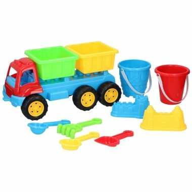 Zandbak speelgoed kiepauto dubbele oplegger 35 cm