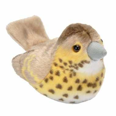 Zanglijster vogeltje met geluid van pluche 13 cm