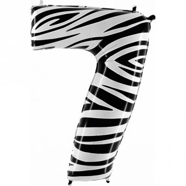 Zebra ballon cijfer 7