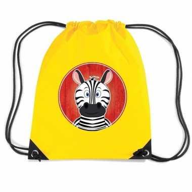 Zebra dieren trekkoord rugzak / gymtas geel voor kinderen