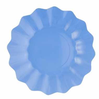 Zeeblauwe diepe wegwerp bordjes 27 cm