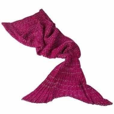 Zeemeerminnen staart dekentje rood 180 cm