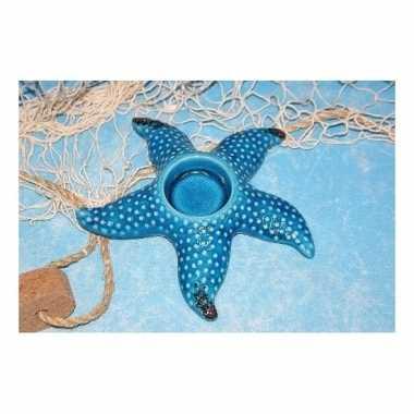 Zeesterren waxinelichthouder blauw 17 cm