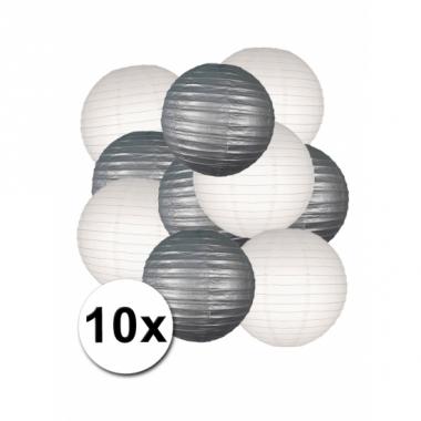 Zilver en wit lampionnen pakket 10x