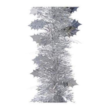 Zilver kerstboomslinger hulstblad 270 cm