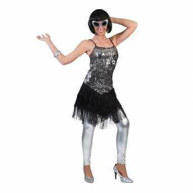Zilver met zwart charleston verkleed jurkje voor dames