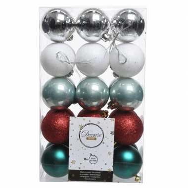 Zilver/rood/groene kerstballen set 6 cm