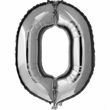 Zilveren ballon cijfer 0