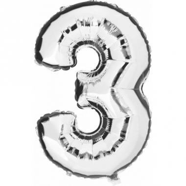 Zilveren ballon cijfer 3