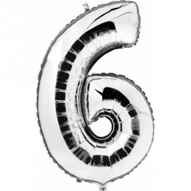 Zilveren ballon cijfer 6