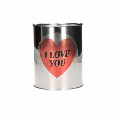Zilveren blik met hartjessticker 13 cm