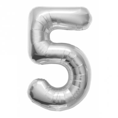 Zilveren cijfer ballon 5 met helium