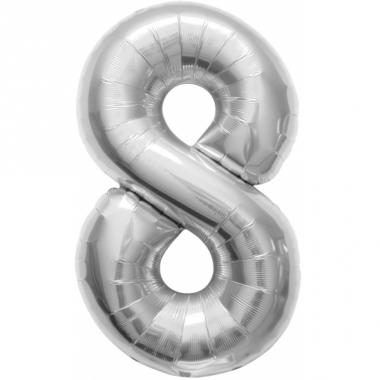 Zilveren cijfer ballon 8 met helium