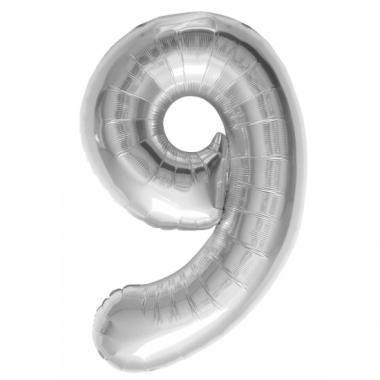 Zilveren cijfer ballon 9 met helium