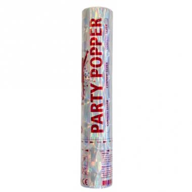 Zilveren confetti kanon 28 cm