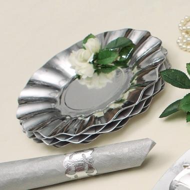 Zilveren diepe wegwerp bordjes 21 cm