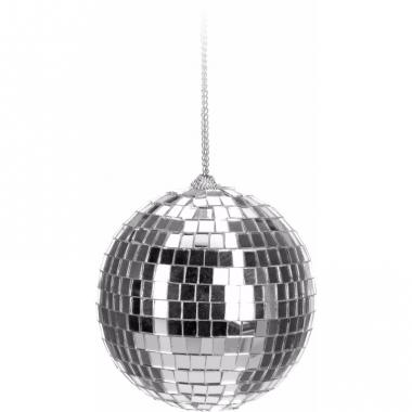 Zilveren disco kerstbal 6 cm