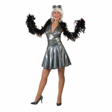 Zilveren disco seventies rok met shirt voor dames
