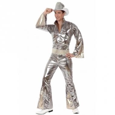 Zilveren disco verkleedkleding heren