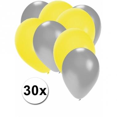 Zilveren en gele ballonnen 30 stuks