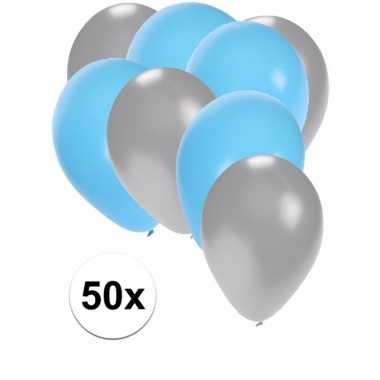 Zilveren en lichtblauwe ballonnen 50 stuks