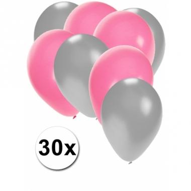 Zilveren en lichtroze ballonnen 30 stuks