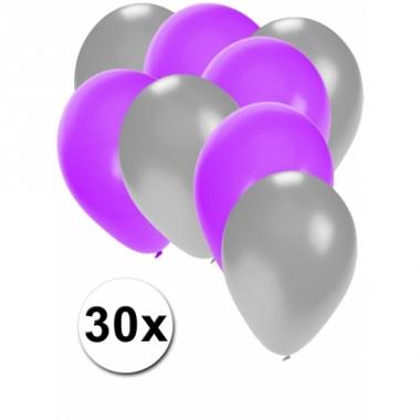 Zilveren en paarse ballonnen 30 stuks