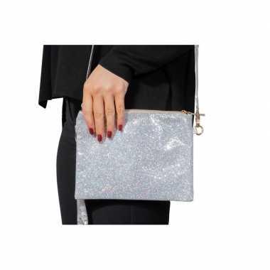 Zilveren feest schoudertasje met glitters