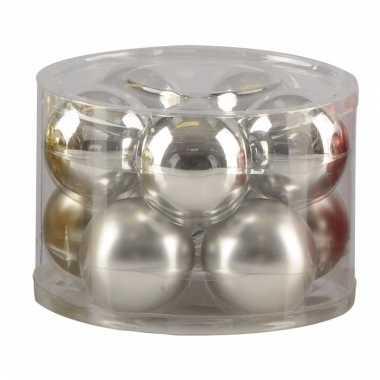 Zilveren glazen kerstballen 10 stuks