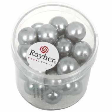 Zilveren glazen kralen 35 stuks
