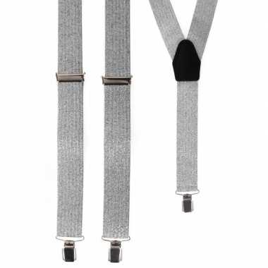 Zilveren glitter bretels