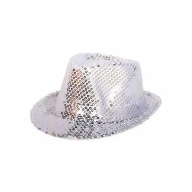 Zilveren glitter hoedje met pailletten