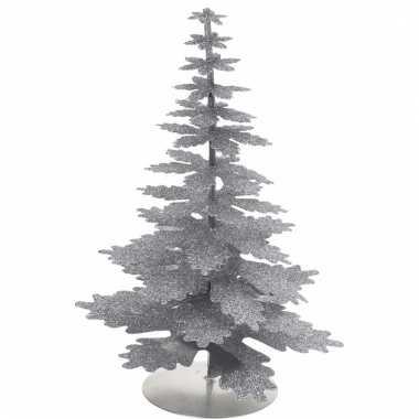 Zilveren glitter kerstboom 22 cm