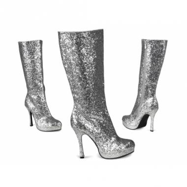 Zilveren glitter laarzen