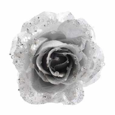 Zilveren glitter rozen met clip