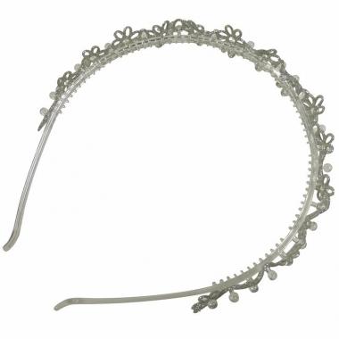 Zilveren haarband met glitter bloemen