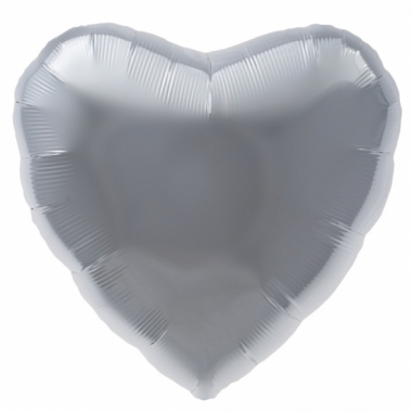 Zilveren hart helium ballon