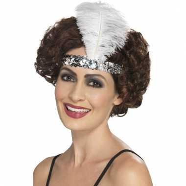 Zilveren jaren 20 hoofdband met veer